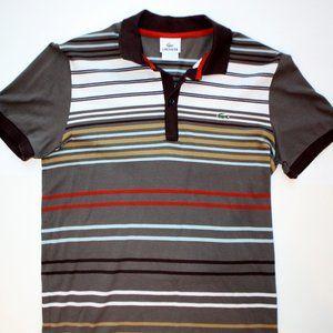 Lacoste Polo Shirt Men's size 3 Small brown stripe